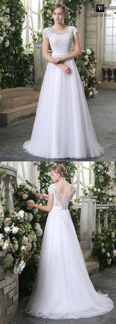 Chic tulle scoop neckline lace appliques a-line wedding dresses. Feel radiant for your walk down the aisle in this bridal gown. (WWD84090) - Adasbridal.com