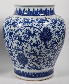 Pair of Chinese Porcelain Blue and White Lotus Jars, 18th century A5BCD