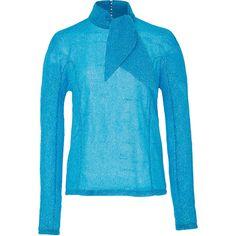 DELPOZO Metallic Tie Neck Top (22 350 UAH) ❤ liked on Polyvore featuring tops, turquoise, tie neck tie, blue turtleneck, mock neck top, collar top and metallic turtleneck