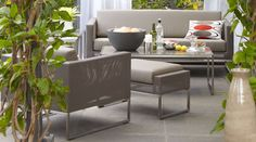 Dune outdoor taupe mesh furniture from Crate and Barrel. Indoor look, outside.