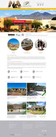 Website makeover for the Phoenix Arizona Perspective real estate team. Eye-catching, clickable banners have captions that allow Perspective to communicate the added value they offer. 3 Call to Action buttons with 6 more clickable icons to make it easy for people to find what they are looking for. Large featured listing photos on the home page to showcase their listings.