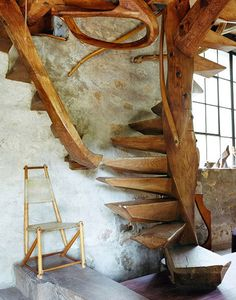 "wharton esherick - wood spiral staircase valley forge, pennsylvania …picture is from the book ""Handcrafted Modern"" by Leslie Williamson. Looks like a book worth tracking down. Into The Woods, Earthship, Wharton Esherick, Take The Stairs, Stair Steps, Wood Steps, Wooden Stairs, Painted Stairs, Hardwood Stairs"