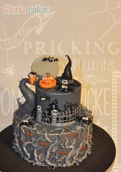 Tarta Halloween. Halloween cake. www.facebook.com/GloriaCakes  www.gloriacakes.com #HalloweenCake #Halloween