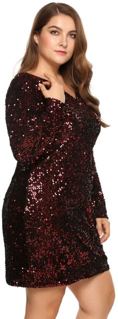 4a6352fafaa Wine red Plus Size Long Sleeve Sequined Party Club Dress