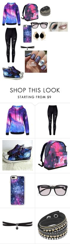 """""""galaxy"""" by princeszozra13 ❤ liked on Polyvore featuring WithChic, HVBAO, Hot Tuna, Casetify, Balmain, Fallon and Bounkit"""
