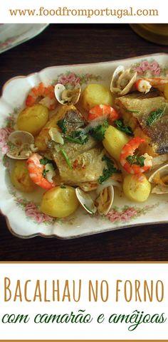 Bacalhau no forno com camarão e amêijoas