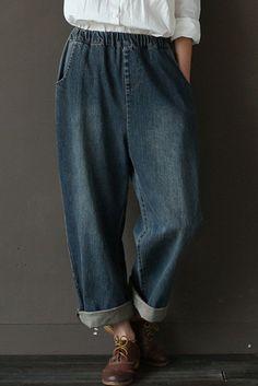 Vintage Cowboy Jeans Pants Women Trousers