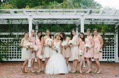 Blush Cream and Taupe Bridesmaids Dresses | photography by http://portfolio.shiprapanosian.com
