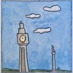 Watercolor Illustration, Watercolour, Irish Art, Clock, Illustrations, Landscape, Instagram, Pen And Wash, Watch