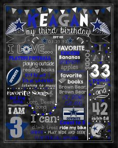 Football Team Birthday Stat Chalk board Can by huxleyphotodesigns