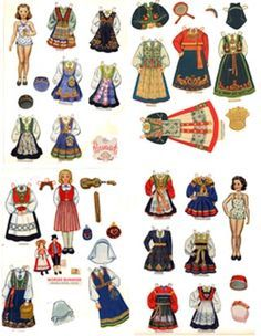 Judy's Place offering Paper Dolls including Dress Up Paper Dolls, Vintage Paper Dolls, and Celebrity Paper Dolls. Paper Toys, Paper Crafts, Frozen Dolls, Paper Dolls Printable, National Art, Thinking Day, Vintage Paper Dolls, Folk Costume, Collage Sheet