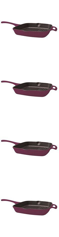 Single Piece Aubergin Cast-Iron 10.2-Inch Grill, Cast Iron Metal Porcelain Material, Elegant Design, Heavy Duty Handle, Eliminating Hot Spot, Enamel Cookware Cleaner Hand Wash Enamel Coating