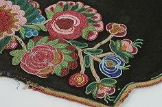 plain indian beadwork | Northern Plains-Great Lakes Antique Beadwork Panel/ Native American ...