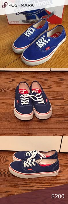 9c6e65e7b7c7c Pabst Blue Ribbon Vans I bought these Vans because I love PBR but I didn t  buy my size so they are too big for me. I ve never worn them so they re in  ...