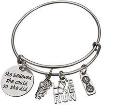 Runner Bangle Bracelet- She Believed She Could So She Did