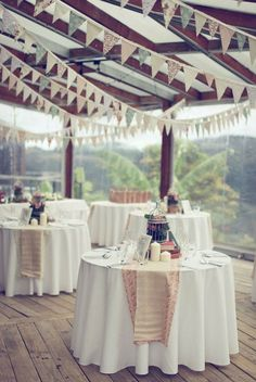 I could do these banners on my deck for a party. I want to have a party! Wedding Bunting, Diy Wedding, Wedding Reception, Rustic Wedding, Dream Wedding, Wedding Ideas, Wedding Banners, Wedding Photos, Wedding Table