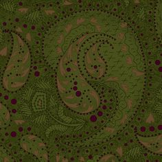 Green Paisley  Whimsy Quilting Fabric  Henry by PrimitiveQuilting, $5.30