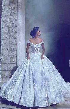This beautiful dress sparkles silvery in the light