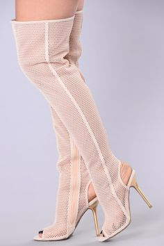 cffed7898e0 OTK Tallest Honeycomb Boot - Nude Fashion Nova Shoes