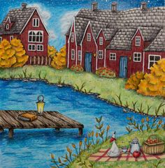 My autumn in Sweden finally done!  #romanticcountry #eriy #romanticcountrycoloringbook #coloring #coloringbook #adultcoloringbook #adultcoloring #pencils #prismacolorpremier #prismacolor #drawing #sweden