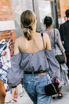 Gingham off shoulder top with long sleeves, denim and low ponytail