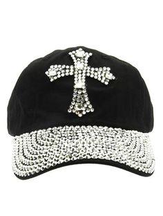 20a2990b28e Rhinestone Crystal Cross Studded Stone Visor black Baseball Bling Hat Cap   Unbranded  WideBrim