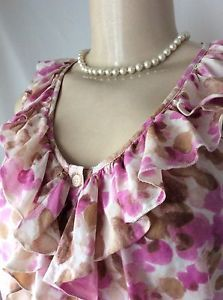 Ann Taylor LOFT Small Pink Tan Ruffle Detail V-neck Cotton Silk Blend GUC