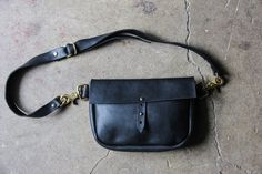 the large hustler festival fanny with strap // hand-sewn black buffed, waxed cowhide leather fanny pack with swivel d-ring hooks