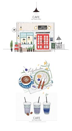 행복한 티타임 curation by Apple on Grafolio Illustration Art Drawing, House Illustration, Digital Illustration, Art Drawings, Buch Design, Food Illustrations, Art Sketchbook, Gouache, Doodle Art