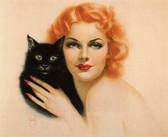 Оригинальный винтажный Альберто Варгас печать две кошки, Энн ШЕРИДАН.jpg