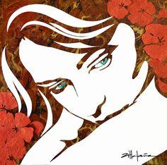 "Original Art, Female Figure in Mixed Media (handmade paper on paper) & metallic paint ""Island Girl "" by Marcy Ann Villafaña x x Kate Shaw, Painted Island, Island Girl, Metallic Paint, Mosaic Art, Quilling, Moose Art, Mixed Media, Original Art"