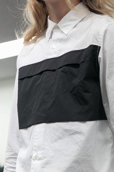White shirt with black pocket panel; fashion details // Ganryu for Comme des Garcons