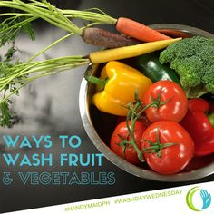 Cleaning produce with vinegar helps kill bacteria to ensure your fruits and vegetables.  Just fill a basin with water, add 1 cup vinegar, mix. Add all fruit/veggies and soak for 10 minutes. Water will be dirty and fruit will sparkle with no wax or dirty film.  #vegetables #fruits #clean #handymaidph #washdaywednesday