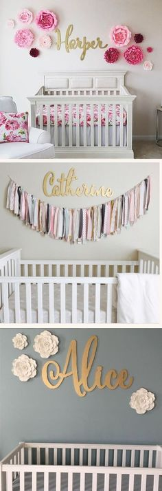 Gorgeous nursery room decoration, custom gold name signs....the perfect touch for a baby room!