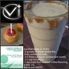Caramel Apple Protein Shake Vi-Shape Shakes are designed to burn fat while building lean muscle mass! Gluten free, lactose free, diabetic friendly, heart smart, non GMO and even safe for children & pregnant or nursing moms! Protein Shake Recipes, Protein Shakes, Smoothie Recipes, Healthy Recipes, Whey Protein, Diabetic Recipes, Healthy Breakfasts, Side Recipes, Ww Recipes