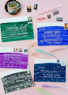 Best of 2016: DIY Colorful Watercolor Envelope Address Ideas