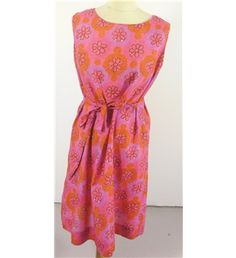 #Vintage Unbranded #1960's '#Festival Fun!' #Mini #Dress Size 14 Featuring Contrasting #Fuchia #Pink And #Satsuma #Orange #Floral #Print