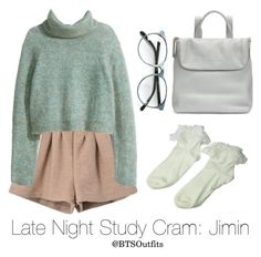 """Late Night Exam Cram: Jimin"" by btsoutfits ❤ liked on Polyvore featuring Retrò, H&M and Whistles"