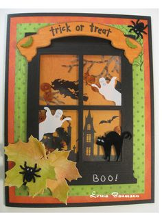 """Shaker card with paper behind window from DCWV paper pad.  Window is from Memory Box.   Ghosts were cut from vellum.  Spiders were punched form suede paper and cat die cut from same paper.  Leaves were die cut with die from Impression Obsession from mixed media paper, colored with Distress ink, shaped and coated with Glossy Accents.  Banner is Just Rite die with """"trick or treat"""" stamped on it.  Little bats on banner are brads and """"BOO!"""" was hand printed."""