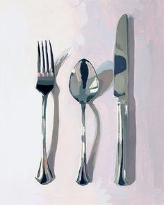 kitchen art giclee print Silverware by Elizabeth Mayville Painting Still Life, Still Life Art, Painting Inspiration, Art Inspo, Poster Art, Illustration Art, Illustrations, Guache, Wow Art
