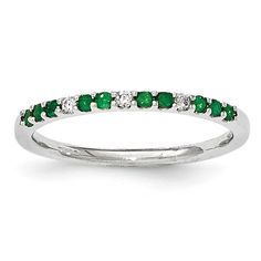 14K White Gold Diamond and Emerald Ring Y13005E/AA