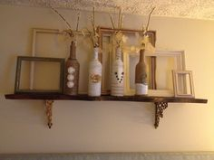 Above the bed decor. Combined 3 different ideas and made this