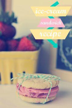 strawberry ice cream + sugar cookie ice cream sandwich recipe