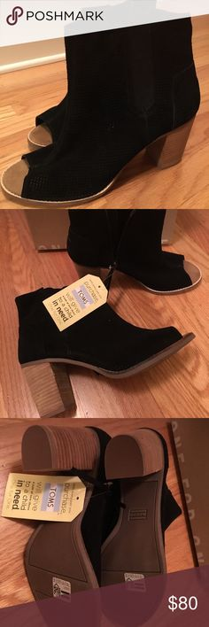 """TOMS Peep Toe Bootie Black, 3"""" heel, never worn with tags. Zip on side. Love, but too high for me. Adorbs with jeans or skirts 💕 TOMS Shoes Ankle Boots & Booties"""