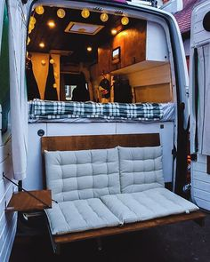Couple's Van Life with a Tailgate Loveseat on their DIY VW Crafter Conversion - wohnmobil - Van Conversion Interior, Camper Van Conversion Diy, Van Interior, Diy Van Camper, Van Conversion With Toilet, Vw Camper Vans, T4 Camper Interior Ideas, Volkswagen Bus Interior, Ford Transit Camper Conversion