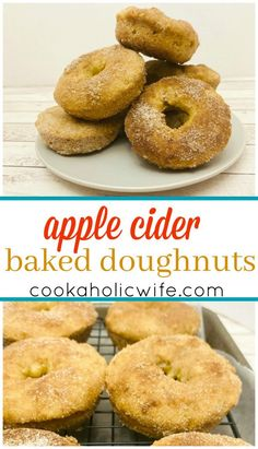 Apple Cider Baked Doughnuts | these baked doughnuts are full of apple cider flavor and coated in an apple pie spice + sugar mixture | www.cookaholicwife.com
