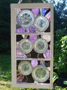 Stained glass window w/vintage wexford plates & by joplinsglass, $249.99