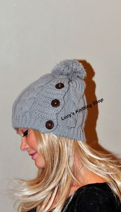 Botón de Pom Pom Gorro de lana mujeres Sombrero Sombrero Cabled adulto  Sombrero adolescente elige Regalo 96626fc2201