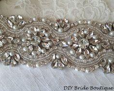 """Rhinestone applique 15"""" couture crystal applique wedding applique beaded pearl applique for DIY wedding sash, bridal accessories"""