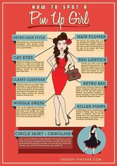 How to spot a pinup girl .... LOL! I like all of these except the flowers in the hair....GREAT!